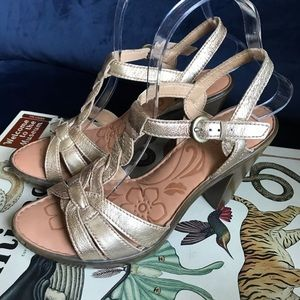Born gold leather t-strap sandals heels